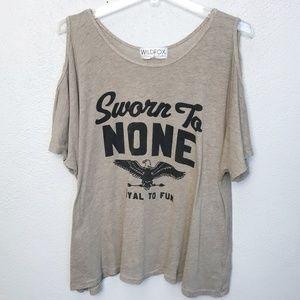 Wilfox Cold Shoulder 'Sworn to NONE' T-shirt